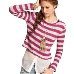 Free People FP Beach Pink Striped Crop Sweater L